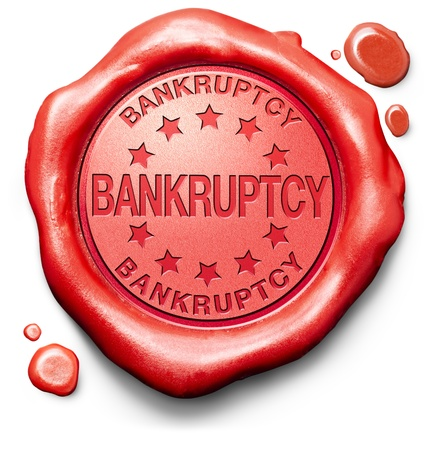 bankrupt: bankruptcy law or court personal or business bankrupt notice debt relief red label icon or stamp