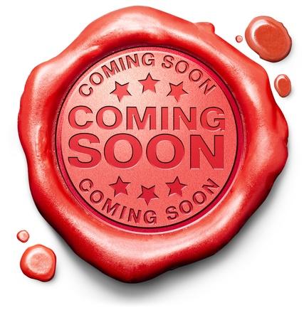 neu: in Kürze neue Produkt-Release next up Förderung und verkünden red label icon oder Stempel