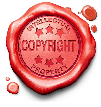 copyright: copyright and intellectual property protection stop piracy and illegal copying protect copy of trademark brand red label icon or stamp