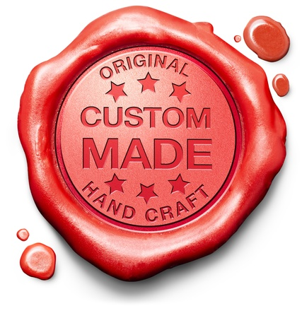crafted: custom made custimized handcraft hand crafted authentic original red stamp label or icon Stock Photo