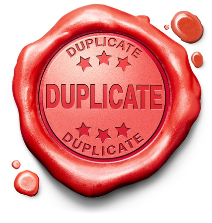 counterfeit: duplicate or double extra copy red label icon or stamp