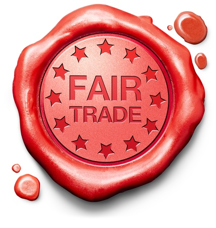 fairtrade: fair trade shop product chocolate coffee or wine red label icon or stamp