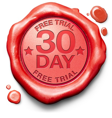 30 day free trial guarantee money back guaranteed quality and customer satisfaction red label icon or stamp Stock Photo
