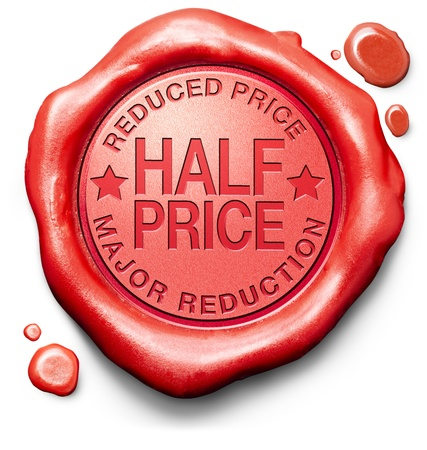 half price: half price major reduction highly reduced prices bargain sale online web shop or internet webshop red icon stamp button or label