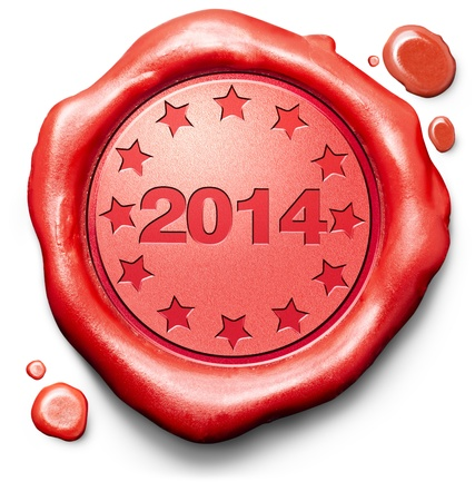 next year: 2014 next new year red label icon or stamp Stock Photo