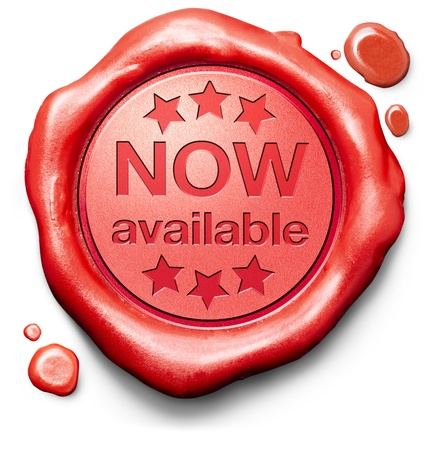 brand new: now available brand new product release red label icon or stamp Stock Photo