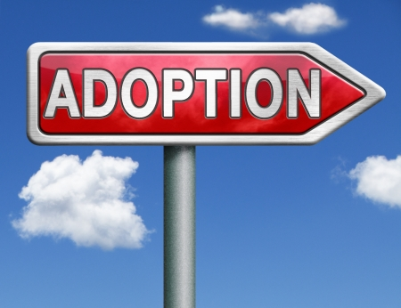child adoption becoming a legal guardian and getting guardianship over young child road sign arrow Stock Photo - 20125497