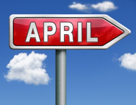 next year: April pointing to next month of the year spring road sign arrow