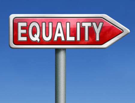 equality equal rights and opportunities for all women man disabled black and white solidarity discrimination of people with disability or physical and mental handicap red road sign arrow word photo