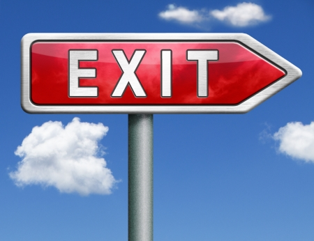 exit the way out to the finish exit door emergency door escape route leaving emergency exit guide pointing direction evacuate evacuation red road sign arrow Stock Photo - 20125311