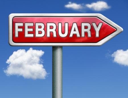 next year: February pointing to next month of the year road sign arrow