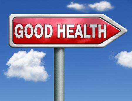 good health: een goede gezondheid en vitaliteit energie gezonde geest en lichaam pictogram knop rood weg teken pijl Stockfoto