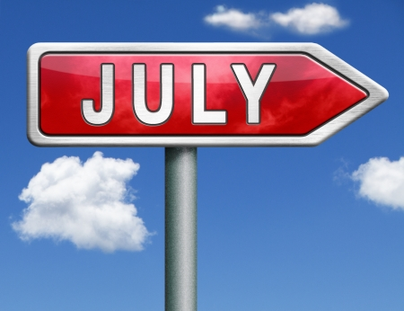 July pointing to next month of the year summer road sign arrow photo
