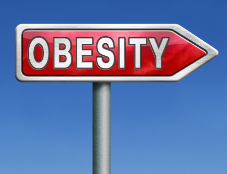 obese child: obesity obese man women child kid or children overweight and fat people risk diabetis red road sign arrow with text word concept