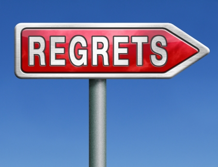 repent: regret or no regrets saying sorry and offer apologize being ashamed for bad decisions red road sign arrow with text word concept Stock Photo