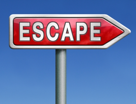 break out of prison: escape route avoid stress and break free running away red road sign arrow with text word concept