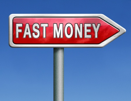 extra money: fast easy money quick extra cash make a fortune online income road sign arrow Stock Photo