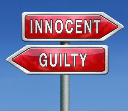 offence: innocent or guilty, presumption of innocence until proven guilt as charged in a fair trial. Crime punishment!