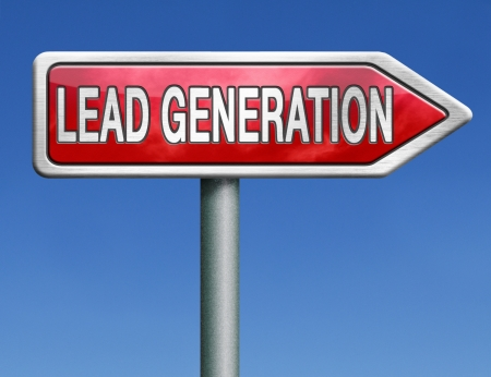 lead: lead generation internet marketing for online market ecommerce sales red road sign arrow Stock Photo