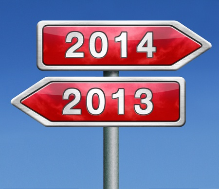 new year 2014 next and previous years the future starting from the end of 2013 road sign arrow photo