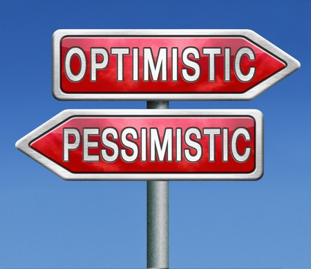 negativity: optimistic or pessimistic optimism and positivity or pessimism and negativity a pessimist reacts positive while a pessimist will be negative Stock Photo