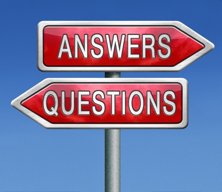 questions answers ask the right question and get an answer road sign indicating online help or support desk solving problems Stock Photo - 21175462