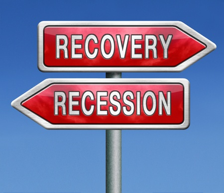 recession or recovery from global financial bank crisis. Stock market crash or growth. Euro or dollar depression and inflation.  photo