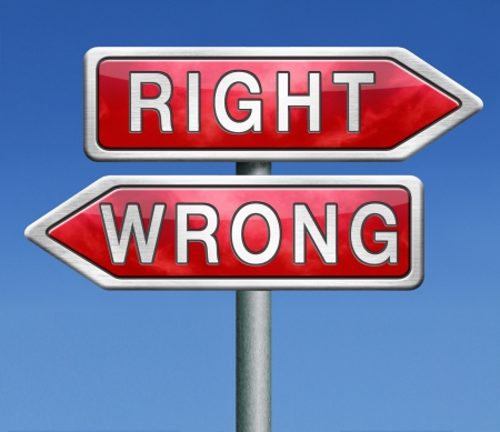 right or wrong direction or difficult choice for answers on questions making a mistake Stock Photo - 21175469