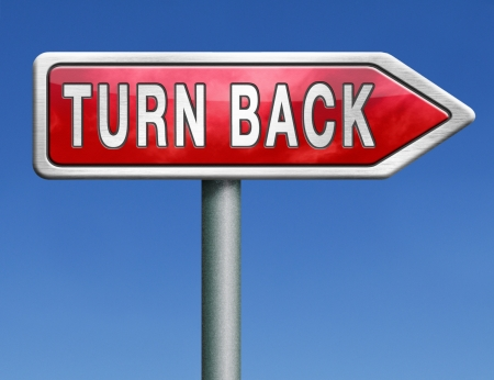 u turn back detour reverse track go back turning opposite direction raod sign arrow Stock Photo - 21175520