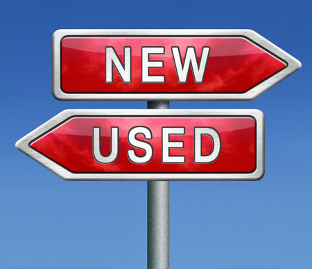 second hand: used or new latest or old second hand car or recycled product comparison before choice