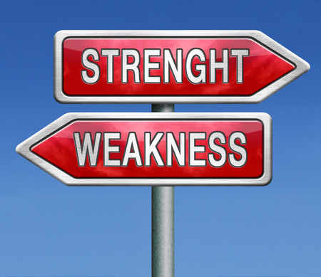 strength or weakness overcome fragility strong or weak road sign signpost photo