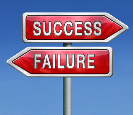 crucial: success or failure road to be successful or to fail choose direction make important and crucial decision take a risk