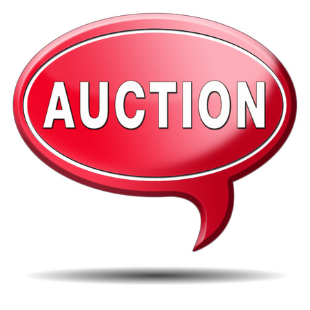 bidding: Auction button of houses cars and real estate. Online bidding icon or banner.