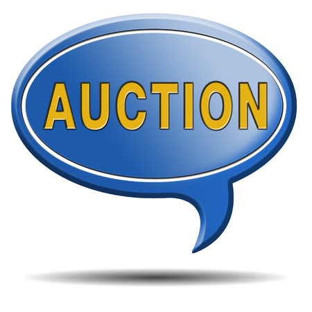 online bidding: Auction icon bid and buy online Stock Photo