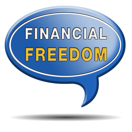 sufficient: financial freedom and economic independence self sufficient and debt free sign.