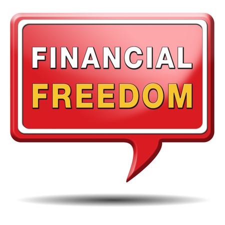 financial freedom and economic independence self sufficient with retirement plan and debt free sign.  photo