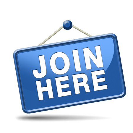 member: Join us here and now banner or registration for membership icon or sign. Do it today and become a member.