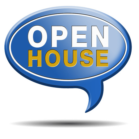 house for sale: Open house sign real estate for sale open door at model house, blue balloon icon Stock Photo