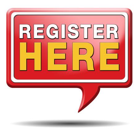 en: register here en no sign or icon. Membership registration sticker.  Stock Photo