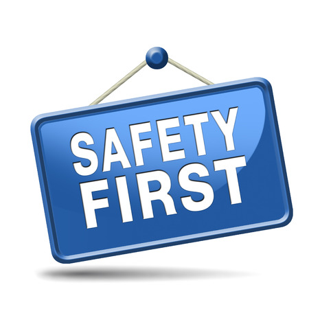 safety at work: safety first rules for security at work and safe and healthy life, risk management icon or banner Stock Photo