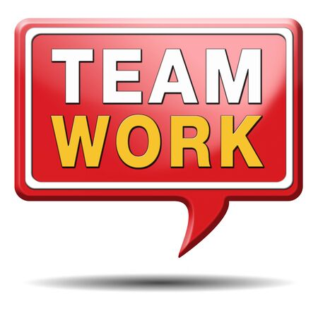 teambuilding: teamwork concept icon, team work and coorperation in partnership working together