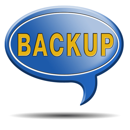 data archiving: Backup data and software on copy in the cloud on a harddrive disk on a computer or server for file security. Internet safety icon or botton.
