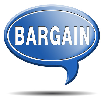 price cut: bargain icon or button. Lowest price and great sales deal and reduction or sale promotion with special price cut. Blue text balloon. Stock Photo