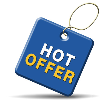 bargain for: hot offer icon or sign for online webshop. Internet web shop concept. shopping sales button announcing bargain for low and best price with the best value for you money.  Stock Photo