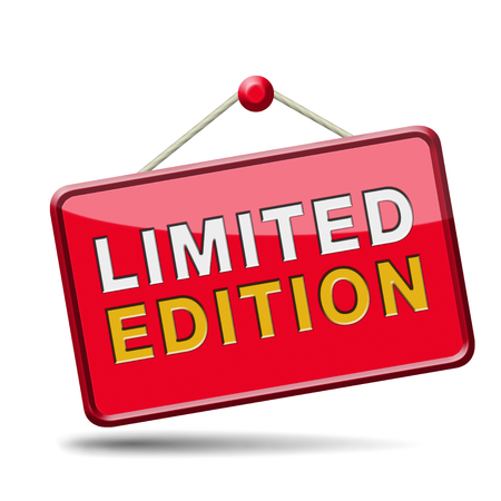 special edition: limited and exclusive edition or offer. Restricted and temporal promotion icon or sign.