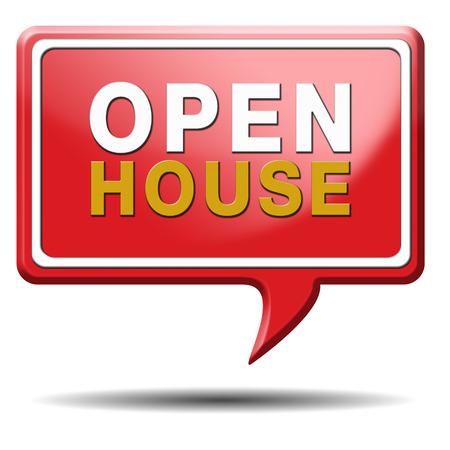 open huis: Open huis plakkaat of het pictogram voor het kopen of huren van een onroerend goed, rode ballon pictogram