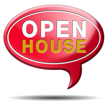 open house: Open house selling or buying real estate property visit model house before you buy or rent, red balloon icon