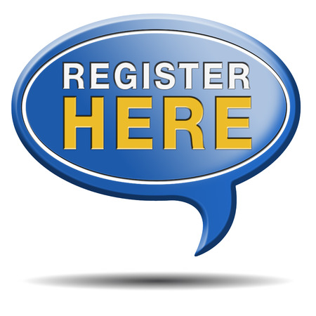 register here en no sign or icon. Membership registration sticker. Reklamní fotografie