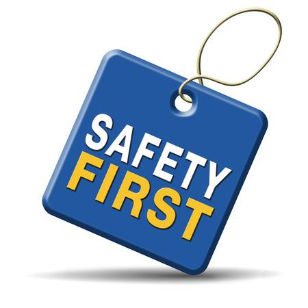 alerta: primero las reglas de seguridad para la seguridad en el trabajo y la vida segura y saludable, icono de la gesti�n de riesgos o banners
