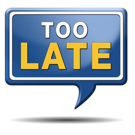 too late: too late time is up and you missed the deadline train or flight connection Stock Photo